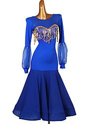 זול -ריקודים סלוניים שמלה מפרק מפוצל Paillette בגדי ריקוד נשים הדרכה שרוול ארוך Chinlon שיפון