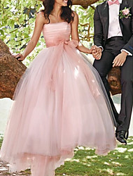 cheap -A-Line Wedding Dresses Strapless Sweep / Brush Train Tulle Sleeveless Country Wedding Dress in Color with Sashes / Ribbons Pleats 2020