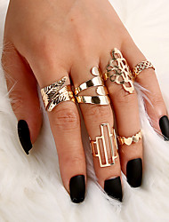 cheap -Women's Ring Open Cuff Ring 6pcs Gold Alloy Rectangular Classic Elegant Trendy Party Evening Gift Jewelry Geometrical Heart Crown
