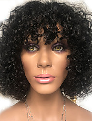 cheap -Human Hair 100% Hand Tied Wig With Bangs style Peruvian Hair Curly Natural Black Wig 150% Density Women Medium Size Natural Hairline For Black Women Women's Short Medium Length Human Hair Lace Wig