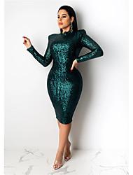 cheap -Women's Sheath Dress Knee Length Dress - Long Sleeve Solid Color Sequins Spring Summer Hot Formal Party Puff Sleeve Slim 2020 Wine Khaki S M L XL XXL