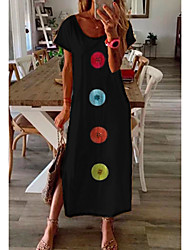 cheap -Women's Shift Dress Maxi long Dress Black Short Sleeve Print Summer Round Neck Hot Casual 2021 M L XL XXL 3XL
