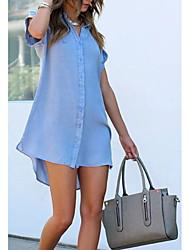 Χαμηλού Κόστους -Γυναικεία Φορέματα τζιν Μίνι φόρεμα - Κοντομάνικο Συμπαγές Χρώμα Καλοκαίρι Καθημερινό Καθημερινά 2020 Θαλασσί M L XL XXL XXXL
