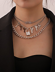 cheap -Women's Pendant Necklace Chain Necklace Necklace Stacking Stackable Keys Number Classic Rustic Vintage Trendy Chrome Gold Silver 62 cm Necklace Jewelry 2pcs For Anniversary Party Evening Street Beach