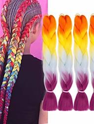 cheap -Crochet Hair Braids Jumbo Box Braids Natural Color Synthetic Hair 24 inch Braiding Hair 6pcs 3pcs Heat Resistant