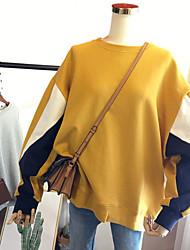 cheap -Women's Sweatshirt Color Block Casual Hoodies Sweatshirts  Cotton Loose Yellow Navy Blue Gray