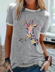 cheap -Women's T-shirt Graphic Prints Tops Round Neck Daily Black Gray S M L XL 2XL