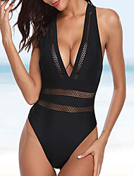 cheap -Women's Basic Halter Cheeky One-piece Swimwear Swimsuit - Solid Colored Lace Criss Cross S M L Black