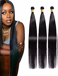 cheap -4 Bundles Hair Weaves Indian Hair Straight Human Hair Extensions Remy Human Hair 100% Remy Hair Weave Bundles 400 g Natural Color Hair Weaves / Hair Bulk Human Hair Extensions 8-28 inch Natural Color