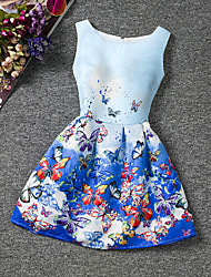 cheap -Kids Little Girls' Dress Butterfly Going out Weekend Print Blue Sleeveless Floral Dresses Summer Slim 6-12 Y