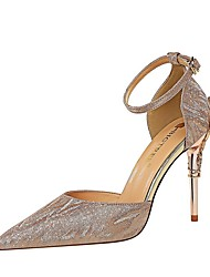 cheap -Women's Sandals Summer Stiletto Heel Pointed Toe Daily Solid Colored PU Champagne / Silver