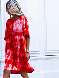 cheap -Women's Sundress Knee Length Dress - Half Sleeve Tie Dye Summer Casual 2020 Red S M L XL XXL