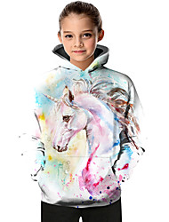 cheap -Kids Toddler Girls' Active Basic Fantastic Beasts Unicorn Geometric Color Block Animal Print Long Sleeve Hoodie & Sweatshirt White
