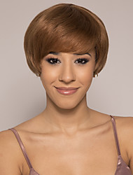 cheap -Remy Human Hair Wig Short Silky Straight Pixie Cut Brown Silky Easy to Carry Women Capless Brazilian Hair Burmese Hair Women's Medium Auburn#30 10 inch