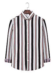 billige -Herre Stribet Skjorte Forretning Basale Daglig I-byen-tøj Hvid / Sort