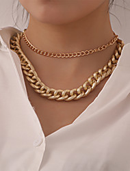 cheap -Women's Chain Necklace Necklace Retro Lucky Classic Vintage Punk Trendy Chrome Gold Silver 45 cm Necklace Jewelry 2pcs For Anniversary Party Evening Street Beach Festival