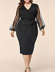cheap -Women's A-Line Dress Knee Length Dress - Long Sleeve Solid Color Summer Casual 2020 Black XL XXL XXXL