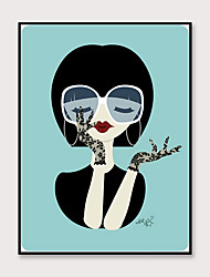 cheap -Framed Art Pop Cartoon Canvas Printing Modern Fashion Small Fresh Style Beautiful Girl PS Oil Painting  Wall Art Suitable for Living Room Decoration Ready To Hang 1 Piece