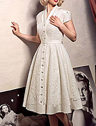 cheap -A-Line Wedding Dresses V Neck Knee Length Lace Short Sleeve Vintage 1950s with Sashes / Ribbons 2021