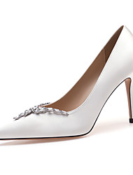 cheap -Women's Heels / Wedding Shoes 2020 Spring / Fall Stiletto Heel Pointed Toe Basic Sexy Sweet Wedding Party & Evening Rhinestone / Sparkling Glitter Solid Colored Satin White / Black / Red