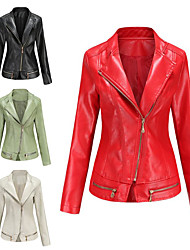 cheap -Women's Leather Jacket Daily Basic Short Solid Colored Black / Red / Green L / XL / XXL