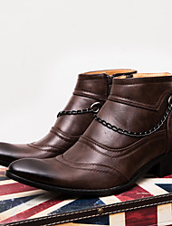 cheap -Men's Winter Business / British Daily Party & Evening Boots Walking Shoes Faux Leather Non-slipping Wear Proof Mid-Calf Boots Dark Brown / Black