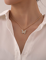 cheap -Women's Pendant Necklace Necklace Classic Butterfly Dainty Rustic Trendy Fashion Chrome Gold Silver 47 cm Necklace Jewelry 1pc For Party Evening Prom Street Beach Festival