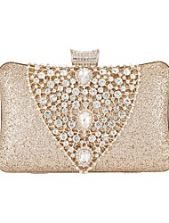 cheap -Women's Bags PU Leather Evening Bag Crystals Sequin Wedding Bags Party Event / Party Black Gold Silver