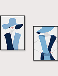 cheap -Framed Art Print Framed Set 2 - Canvas Wall Art Pop Cartoon Fashion Characters Printing Abstract Wall Decoration  Porch Corridor Black Picture Frame Ready To Hang