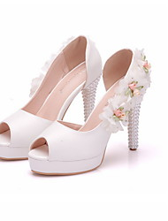 cheap -Women's Wedding Shoes Summer Stiletto Heel Peep Toe Wedding Daily Satin Flower Solid Colored PU White