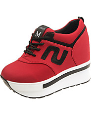 cheap -Women's Sneakers Spring Fall Hidden Heel Round Toe Casual Daily Outdoor Slogan Canvas Black / Red