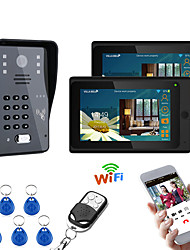 cheap -7inch 2 Monitors Wireless Wifi RFID Password Video Door Phone Doorbell Intercom Entry System With Wired IR-CUT  Wired Camera Night VisionSupport Remote APP UnlockingRecordingSnapshot