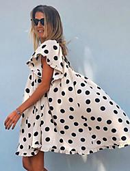 cheap -Women's Swing Dress Short Mini Dress White Short Sleeve Polka Dot Backless Ruched Print Spring Sexy 2021 S M L XL XXL 3XL