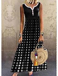 cheap -Women's A Line Dress Maxi long Dress Black Sleeveless Polka Dot Summer Round Neck Hot Casual 2021 M L XL XXL 3XL