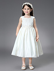 cheap -Princess / Ball Gown Ankle Length / Royal Length Train Wedding / First Communion Flower Girl Dresses - Satin Sleeveless Square Neck with Belt / Beading / Appliques