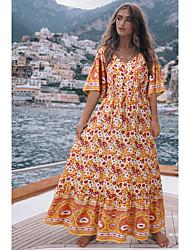 cheap -Women's Swing Dress Maxi long Dress - Half Sleeve Geometric Print Summer Boho 2020 Blue Yellow Green S M L XL