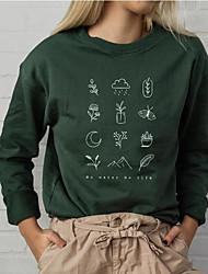 cheap -Women's Sweatshirt Graphic Letter Casual Basic Hoodies Sweatshirts  Cotton Slim Green