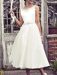 cheap -A-Line Wedding Dresses Jewel Neck Knee Length Tulle Sleeveless Vintage 1950s with Beading 2021
