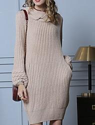 billige -Dame Ensfarvet Langærmet Pullover Sweater Jumper, Rullekrave Efterår Kakifarvet S / M / L