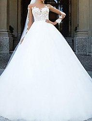 cheap -Ball Gown Wedding Dresses Sweetheart Neckline Chapel Train Lace Tulle Sleeveless Formal with Appliques 2020