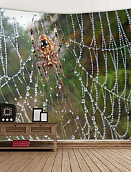 cheap -Spider Web after Rain Digital Printed Tapestry Decor Wall Art Tablecloths Bedspread Picnic Blanket Beach Throw Tapestries Colorful Bedroom Hall Dorm Living Room Hanging