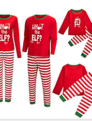 cheap -2 Piece Family Look Active Vintage Geometric Color Block Letter Print Long Sleeve Regular Maxi Clothing Set Red
