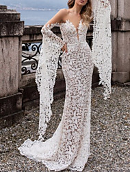 cheap -Mermaid / Trumpet Wedding Dresses Off Shoulder Court Train Lace Tulle Sleeveless Beach Sexy with Appliques 2021