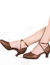 cheap -Women's Modern Shoes Heel Glitter Cuban Heel Black Gold Brown