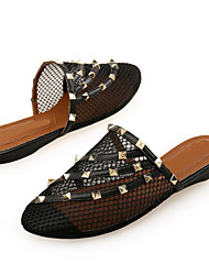 cheap -Women's Clogs & Mules Spring / Summer Flat Heel Round Toe Daily Home Rivet Patent Leather / Mesh Almond / Black / Red
