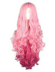 cheap -Cosplay Costume Wig Synthetic Wig Curly Halloween Middle Part Wig Long Pink+Red Synthetic Hair 28 inch Women's Party Synthetic Pink