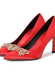 رخيصةأون -نسائي كعوب الصيف كعب ستيلتو حذاء براس مدبب زفاف مناسب للبس اليومي ورد ستان أحمر / بني فاتح
