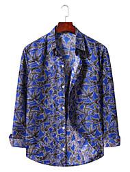 זול -בגדי ריקוד גברים גראפי דפוס חולצה הוואי ליציאה לבן / כחול ים