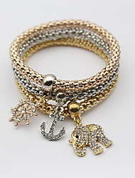 cheap -Women's Charm Bracelet Layered Elephant Stylish Imitation Diamond Bracelet Jewelry Rainbow For Festival