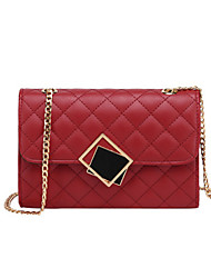 cheap -Women's Bags PU Leather Crossbody Bag Buttons / Chain for Going out / Outdoor White / Black / Red